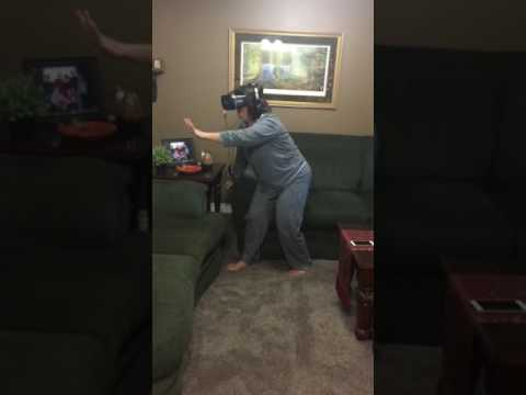 Mom walking VR tightrope