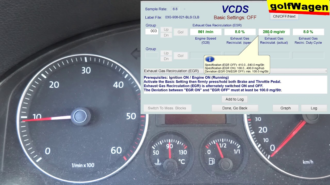 VW Golf 5, 1 9TDI EGR basic settings VCDS test /I do not know what to do/