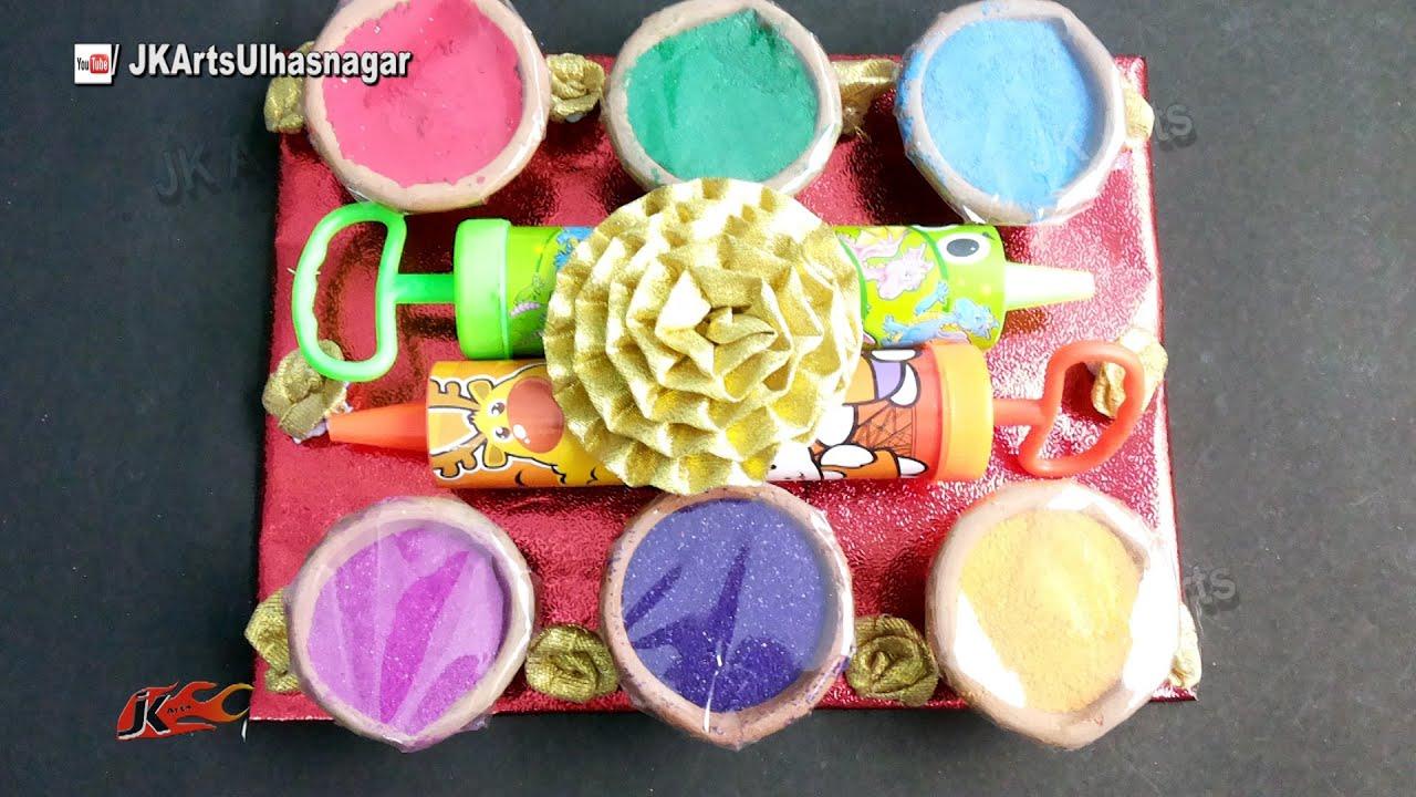 Holi Card Making Ideas Part - 38: Holi Festival Color Platter |How To Make | Holi Gift Ideas | JK Arts 897 -  YouTube