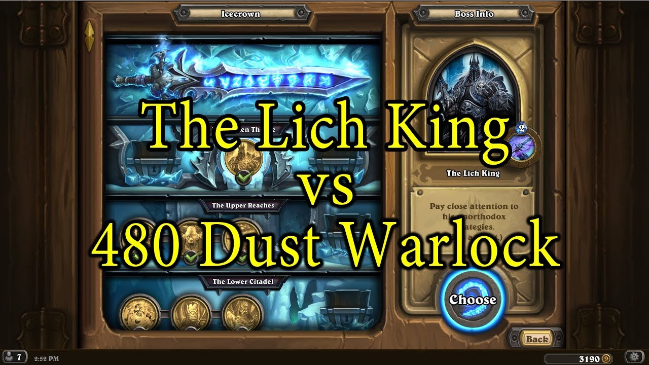 hearthstone the lich king with a 480 dust warlock deck