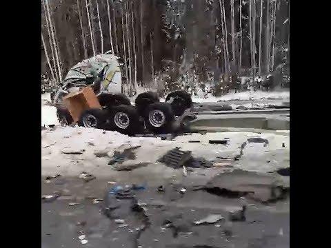 Авария с большегрузами на трассе Тюмень — Ханты-Мансийск | 72.RU