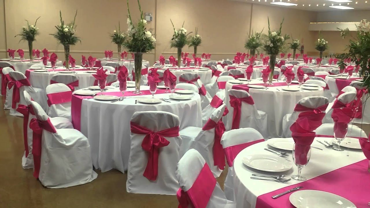 Fuschia and white wedding set up - YouTube