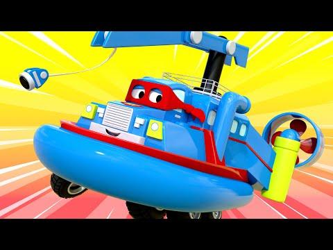 Carl de Super Vrachtwagen ⍟  De hoverboot  🚚 Autostad - Cartoons voor kinderen