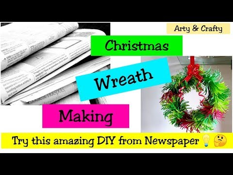 DIY Christmas Wreath / How to Make Paper Wreath / Christmas Decorations / Newspaper Craft