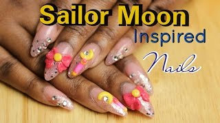 How To: Sailor Moon Inspired Nails with 3D acrylic art | LongHairPrettyNails