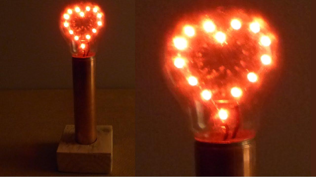 How To Make A LED Heart Light Bulb Lamp   YouTube