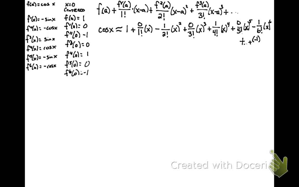 Taylor series for sinx centered at pi/2