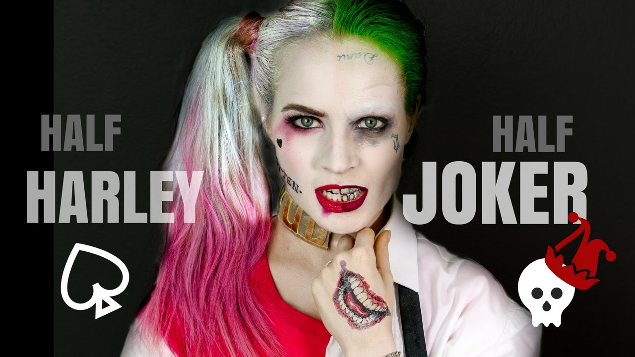 Half Harley Quinn Half Joker Halloween Hair And Makeup