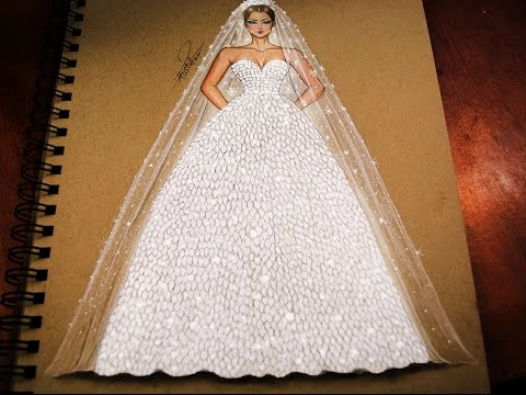 f89bb5cff  تعليم رسم وتصميم ازياء | رسم فستان زفاف خطوة بخطوة - how to draw wedding  dress - YouTube