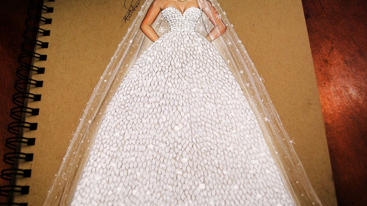b8a6ddc4d تعليم رسم وتصميم ازياء | رسم فستان زفاف خطوة بخطوة - how to draw wedding  dress
