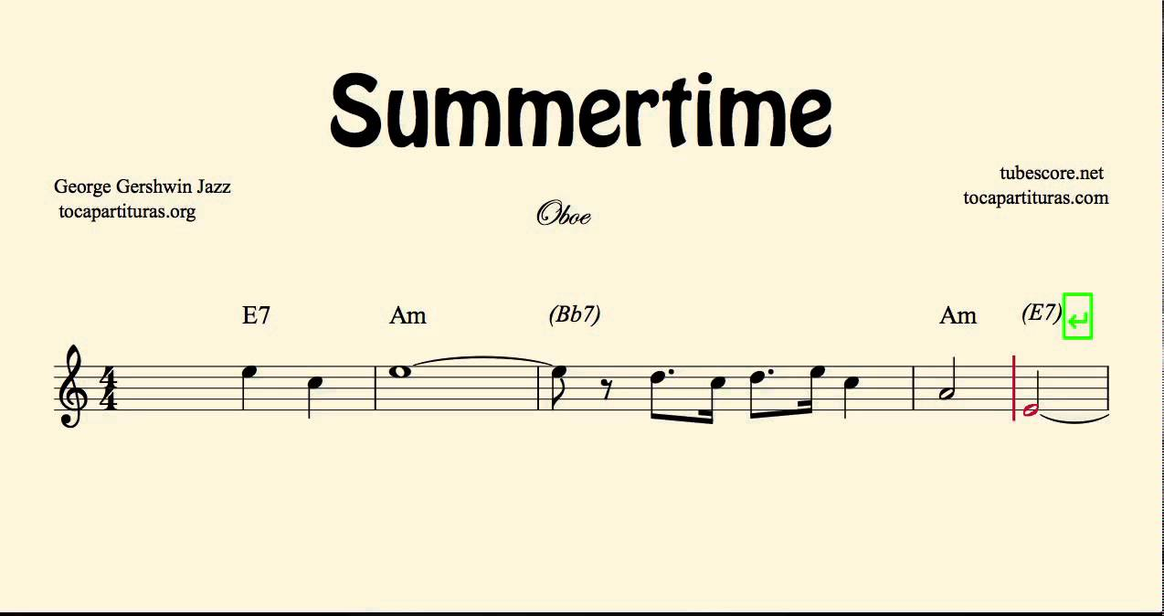 Summertime sheet music for oboe with chords youtube summertime sheet music for oboe with chords hexwebz Choice Image