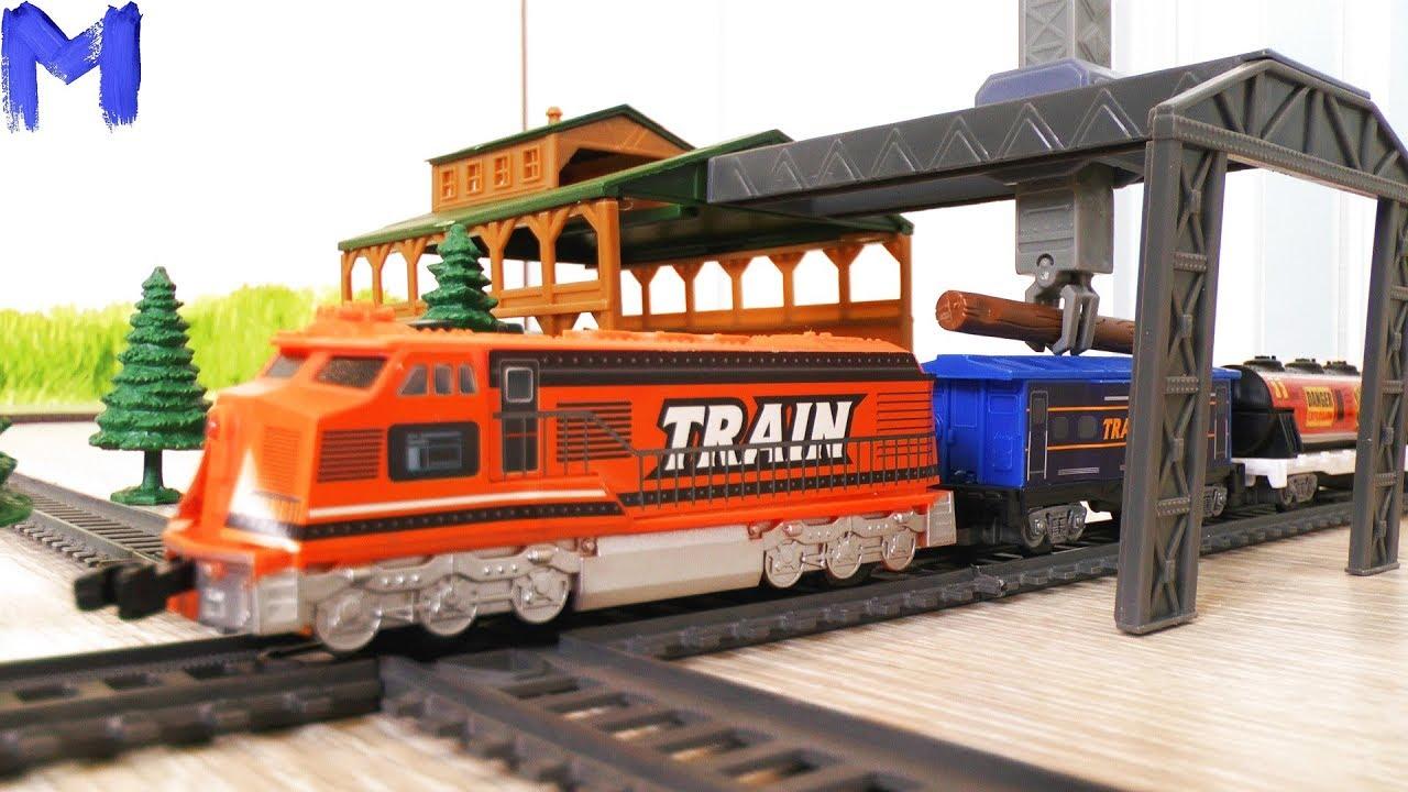 Поезд - Лесовоз и Железная дорога - Видео про машинки и поезда для детей - Игрушки для мальчиков