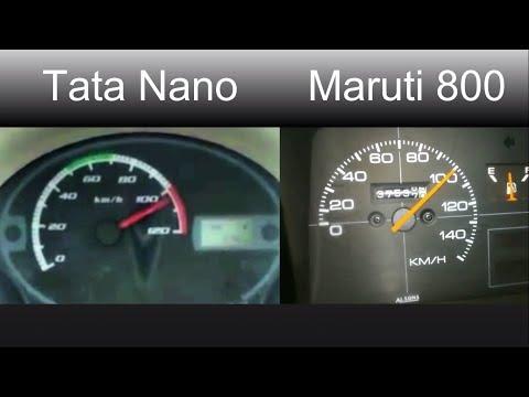 Tata Nano vs Maruti 800 0-100 Speed test