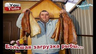Копчение.Большая загрузка рыбы.Толстолобик и Белый Амур...