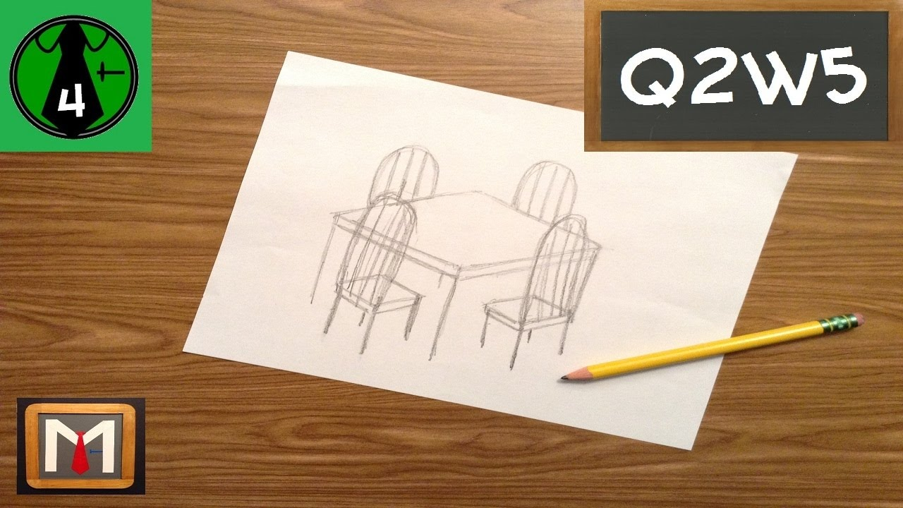 How To Draw A Simple 3 D Table U0026 Chairs   YouTube