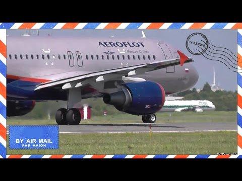Closeup Aeroflot Airbus A320 taxiing and takeoff run - VQ-BPU - D. Likhachev - Store Magleby