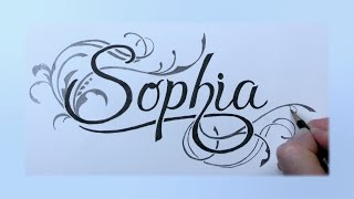 How To Draw - Sophia - in Fancy Swirly Letters with Pencil and Markers