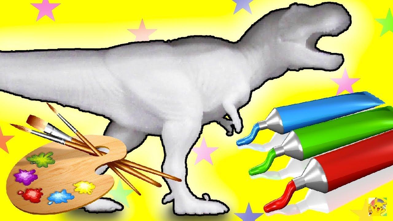 colorindo dinossauro de brinquedo tiranossauro rex aprendendo as