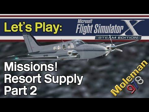 Let's Play: FSX:SE, Missions! Resort Supply Part 2 | Beechcraft Baron 58
