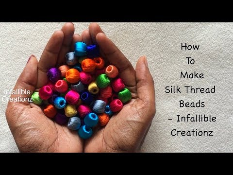 How to make silk thread beads without needle | How to wrap silk thread beads