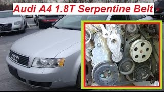 audi a4 b6 serpentine belt replacement diagram and how to install accessory  belt - youtube  youtube