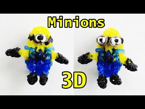 Rainbow Loom Charms Minion 3D : How to Make with Loom bands (Despicable Me)