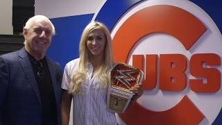 WWE Women's Champion Charlotte & Ric Flair throw first pitch