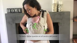 Onbuchila (portabebés inspirado en el onbuhimo) en bebé recién nacido