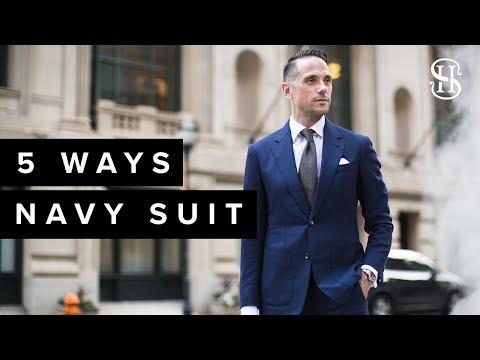 Blue suit pants with black shirt