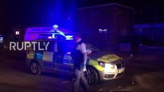Protesters clashed with police near Forest Gate police station in E...