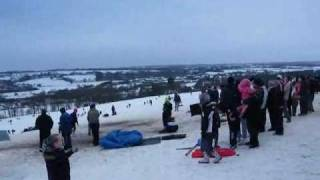 Parbold Sledging 10th January 2010 Wigan Keep My Children Warm  Andy Roberts.wmv