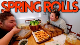 GIANT SHRIMP SPRING ROLLS (COOKING + EATING) MUKBANG 먹방 + SPICY SAUCE EATING SHOW!