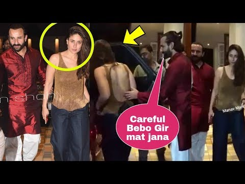 Saif Ali Khan helps FULLY DRUNK Kareena Kapoor Khan to sit in Car after Christmas Party