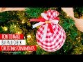 DIY Buffalo Check  Christmas Ornament   Easy Fabric upcycled baubles