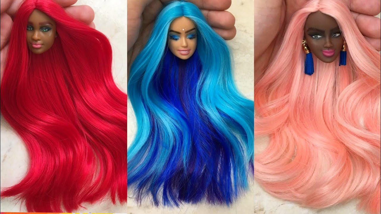 Barbie Doll Hair Transformation ~ DIY Miniature Ideas for Barbie ~ Wig, Dress, Faceup, and More!