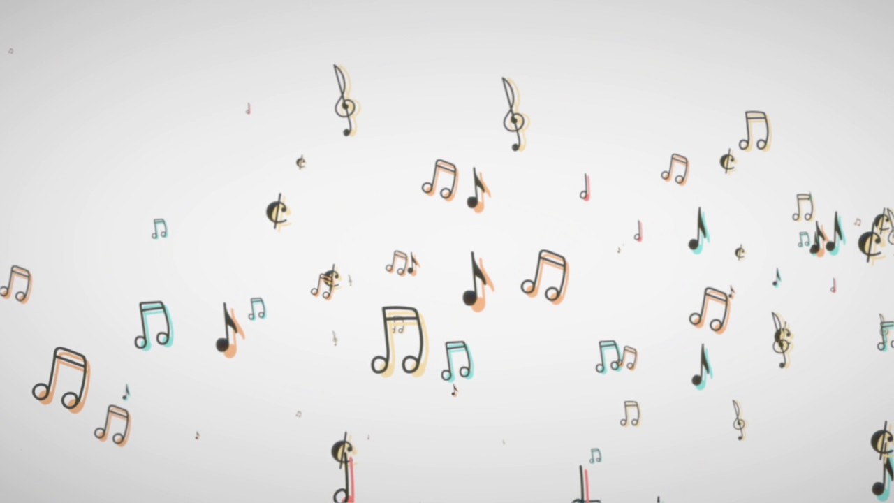 Music Notes Floating From The Side White Background Particular