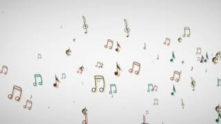 Music Notes floating from the side (white background) Particular - free motion graphics