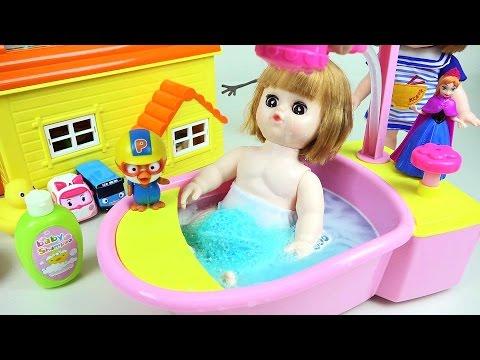Baby doll bath 콩순이 와 뽀로로 타요 겨울왕국 장난감 목욕놀이 Baby doll Bath playing toy with Pororo Tayo toys