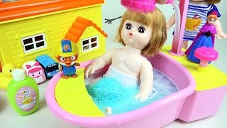 Baby doll bath 콩순이 와 뽀로로 타요 겨울왕국 장난감 목욕놀이 Baby doll Bath playing toy with Pororo Tayo toys