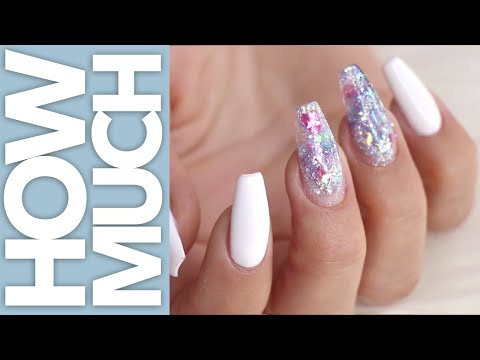 How Much - Stain Free White with Nail Art - Acrylic Nails