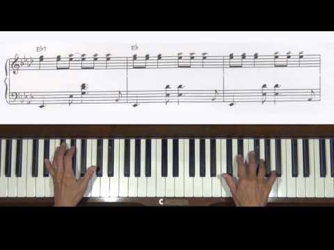Linus and Lucy Middle Jazz Section Piano Tutorial v.2