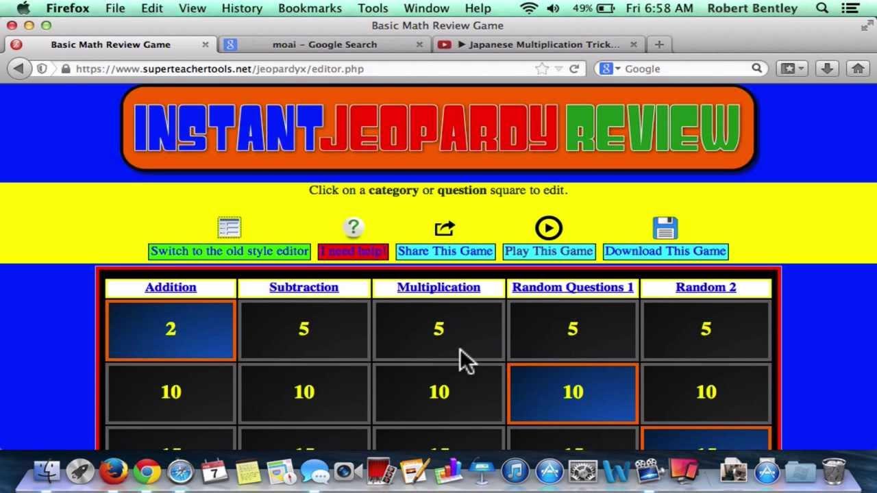 Classroom Jeopardy Superteachertools 2014 Tutorial Youtube