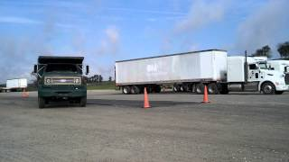 CDL parallel parking dump truck and trailer