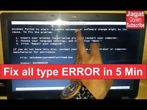Windows failed to start  A recent hardware or software change might be the cause  to fix the problem