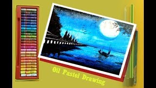 PASTEL DRAWING STEP BY STEP/WATER EFFECT IN PASTEL COLORS/BEAUTIFUL SCENERY DRAWING/MOONLIGHT ART