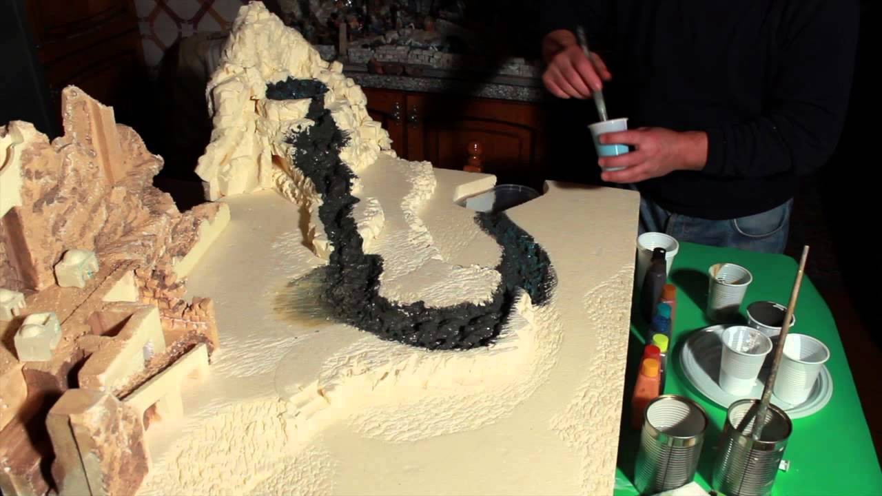Dipingere cascata e terreno del presepe - Parte10 - YouTube