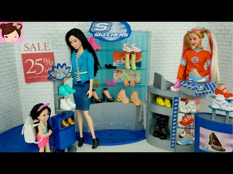 Thumbnail: Dolls Shopping at Barbie Skechers Shoe Store Playset - Playing With Dolls Titi Toys