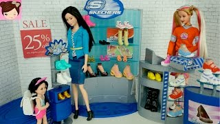 Dolls Shopping at Barbie Skechers Shoe Store Playset  - Playing With Dolls Titi Toys