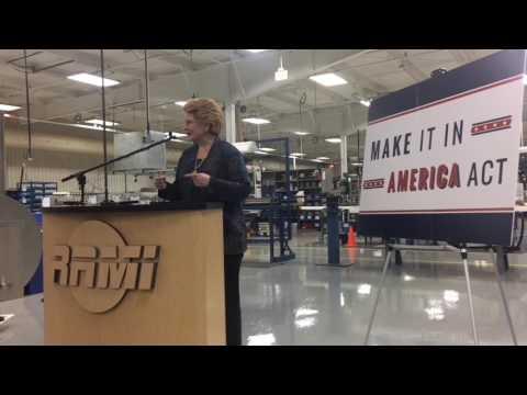 U.S. Senator Debbie Stabenow talks about her bill called Make It In America Act on March 31, 2017