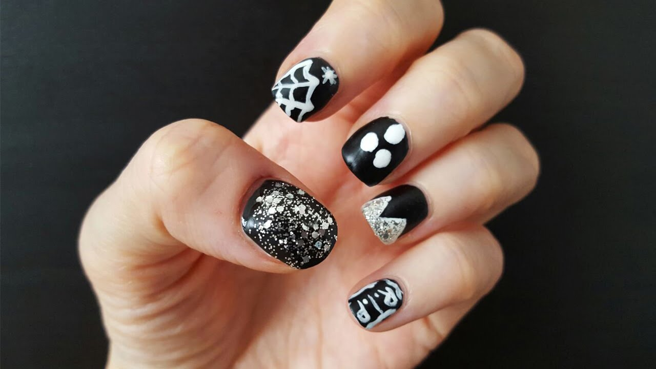 Black and White Easy Halloween Nail Art - YouTube